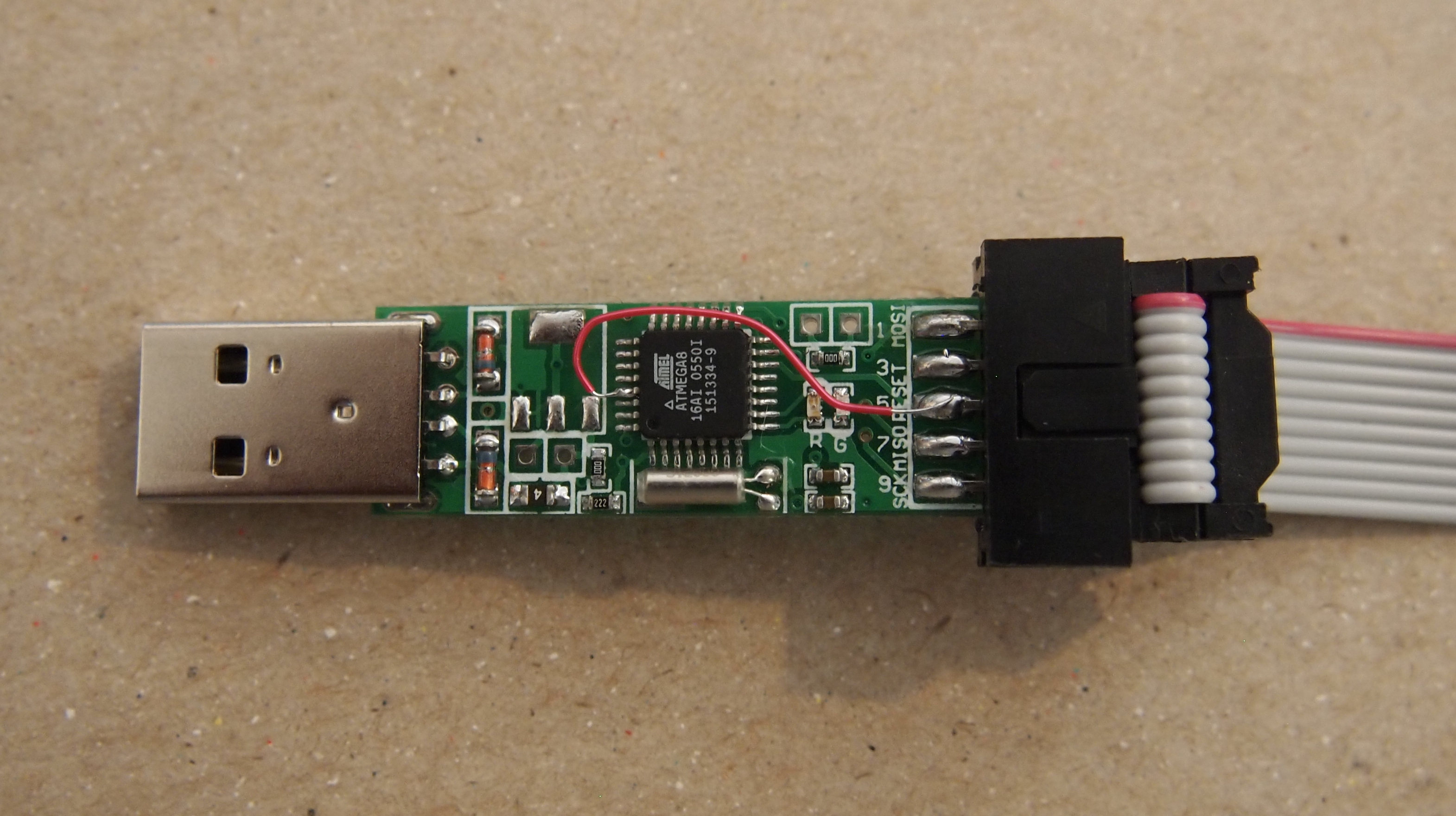 Cheap Chinese Usb Isp Programmers Fords Ponderings Used The Avrisp Incircuit Programmer To Program Chip You Can Guts Of Showing Temporary Tiny Wire Modification